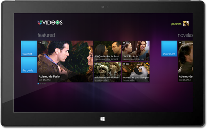 UVideos iPad Application Main Screen